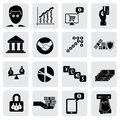 Bank money icons signs related to wealth assets vector graphic this illustration can also represent savings account investments Stock Photography