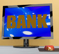 Bank on monitor shows online or electronic banking showing Stock Photography