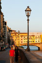 Bank near the Ponte Vecchio Royalty Free Stock Images