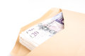 British pound bank notes in envelope Royalty Free Stock Photo