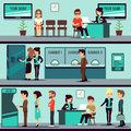 Bank office interior with people, clients and bank clerks vector flat banking concept