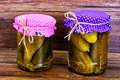 Bank of Pickled Cucumbers Royalty Free Stock Photo