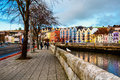 Bank of the river Lee in Cork, Ireland Royalty Free Stock Photo