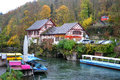 Bank of the river rhine near the rhine falls neuhausen am rheinfall switzerland november Stock Photos