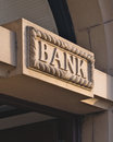 Bank sign carved in stone Stock Photos