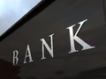 Bank signage silver letters on wall Stock Images