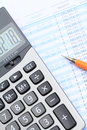 Bank statement analysis with calculator Stock Photography