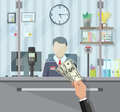 Bank teller behind the window Royalty Free Stock Photo