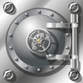 Bank vault door detailed vector illustration radient mash Royalty Free Stock Photo