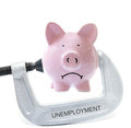 Bank vice sad piggy being squeezed in unemployment on white Royalty Free Stock Photos