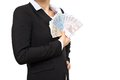 Banker in Business Suit with Euro Bills Royalty Free Stock Photography