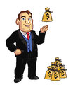 Banker vector cartoon of rich playing with money bag Stock Images