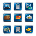 Banking finance buttons icon set Stock Photo