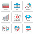 Banking and finance line icons set flat of account financial analytics currency exchange money investment credit card deposit Stock Image