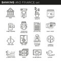 Banking And Finance Linear Icons Set