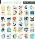 Banking and finance vector complex flat icon concept symbols for web infographic design.