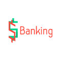 Banking logotype with red and green abstract sign