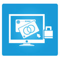 Banking online service symbol in blue button Royalty Free Stock Images