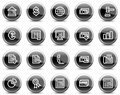 Banking web icons, black glossy circle buttons Stock Photos