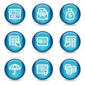 Banking web icons, blue glossy sphere series Royalty Free Stock Photos