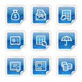 Banking web icons, blue glossy sticker series Stock Photography