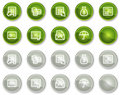 Banking web icons, green and grey circle buttons Royalty Free Stock Photography