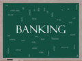 Banking Word Cloud Concept on a Blackboard Stock Photos