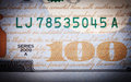 Banknote an abstract of one hundred dollar bills with narrow depth of field Stock Image