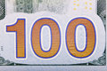 Banknote an abstract of one hundred dollar bills with narrow depth of field Stock Photo
