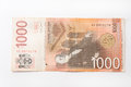 Banknote of one thousand Serbian dinars Royalty Free Stock Photo