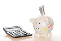 Banknote and piggy bank with money calculator Stock Photo