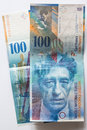 Banknote swiss francs close up view of hundred Stock Photos