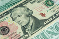 Banknote in ten american dollars close up Royalty Free Stock Photography