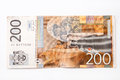 Banknote of two hundred Serbian dinars Royalty Free Stock Photo