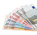 Banknotes as a fan shows euro Stock Photo