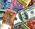 Banknotes of different countries wallpaper Royalty Free Stock Image