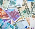 Banknotes dollar, zloty, rubel, euro, hryvna Royalty Free Stock Photo