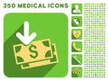 Banknotes Income Icon and Medical Longshadow Icon Set