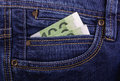 Banknotes in jeans pocket euro Stock Photos