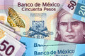 Banknotes of mexico and pesos Stock Photos