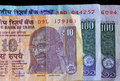 Banknotes of the Republic of India. Portrait of Mahatma Gandhi on the official indian currency. Royalty Free Stock Photo