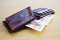 Banknotes in wallet brown with czech currency Stock Photo