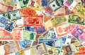 Banknotes of the world of different times. Royalty Free Stock Photo