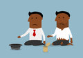 Bankrupt black businessman is begging for money cartoon sitting near dirty beggar man and asking bankruptcy financial crisis Royalty Free Stock Images
