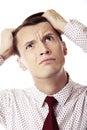 Bankrupt businessman on a white background Stock Images
