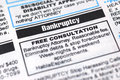 Bankruptcy Ad Royalty Free Stock Images