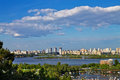 Banks of the dnieper view on kiev from Royalty Free Stock Photos