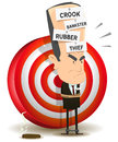 Bankster punishment with dartboard illustration of a cartoon scenery bad banker crook leader attached and prisoner dart target Stock Image