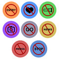 Banned icon designs set a of for graphic element use Stock Photography