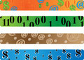 Banner dollars and binary Royalty Free Stock Photo